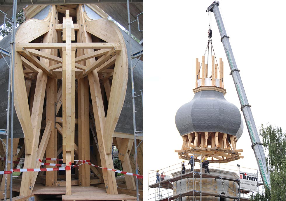 Holzkonstruktion der Turmhaube